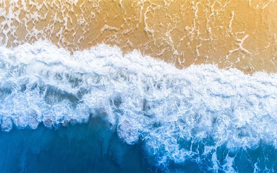 Fondos de pantalla Hermosa playa, mar, espuma, vista superior