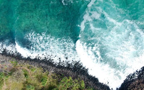 Fondos de pantalla Hermoso mar azul, olas, espuma, vista superior