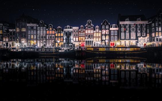Wallpaper Beautiful city night, Amsterdam, Netherlands, houses, river, starry