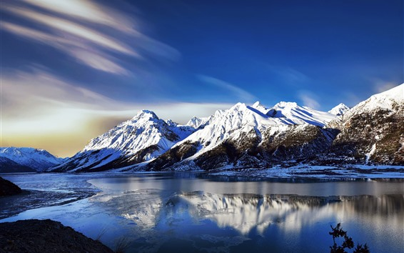 Wallpaper Beautiful nature landscape, mountains, snow, winter, river