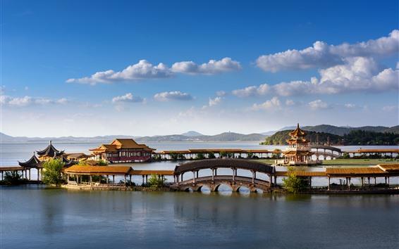 Fondos de pantalla Hermoso parque, Tongyi Jiayuan, lago, Wuxi, China