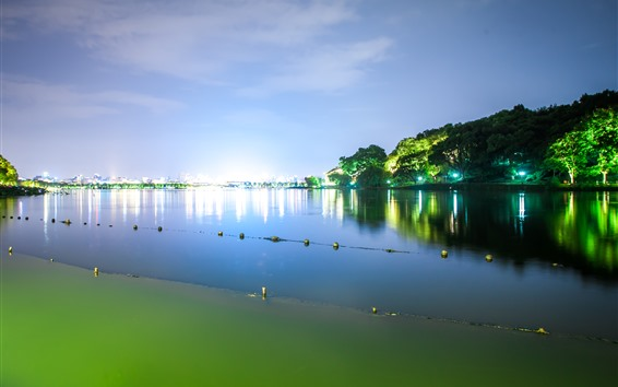 Fondos de pantalla Hermoso parque en la noche, Lago Hangzhou West, China