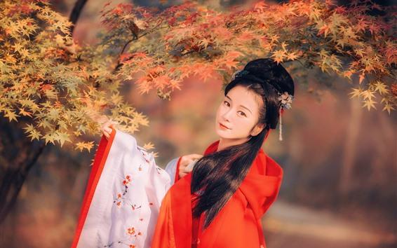 Fondos de pantalla Hermosa niña de estilo retro chino, hojas de arce rojas, otoño