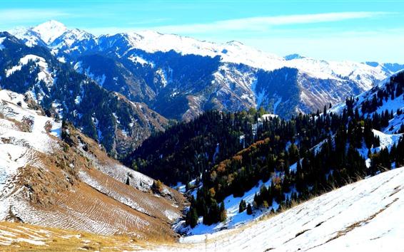 Papéis de Parede Inverno bonito, montanhas, neve, vale