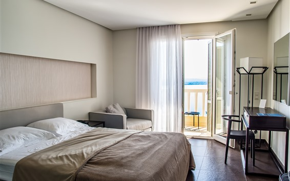 壁紙 寝室、ベッド、椅子、ドア