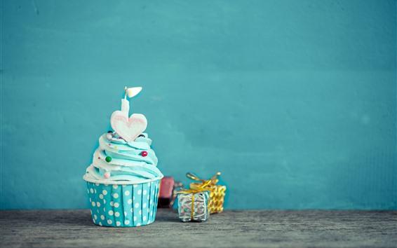 壁紙 バースデーケーキ、ブルークリーム、キャンドル、ラブハート、ギフト
