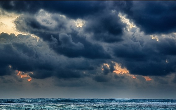 Обои Черные облака, море, шторм