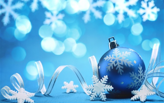 Wallpaper Blue Christmas ball, ribbons, snowflakes, blue background