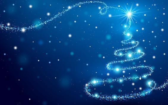 Papéis de Parede Árvore de Natal azul, brilho, estrelas