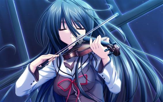Fondos de pantalla Chica de anime de pelo azul, tocar violin