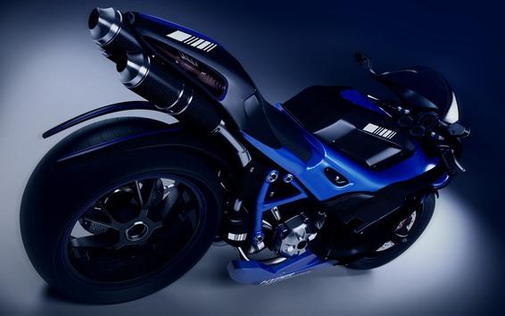 Fondos de pantalla Motocicleta azul, rueda