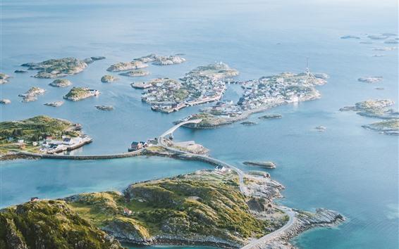 Fondos de pantalla Mar azul, ciudad, puente, Islas