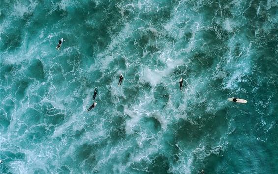 Fondos de pantalla Mar azul, surf, olas, vista superior, fotografía de drones