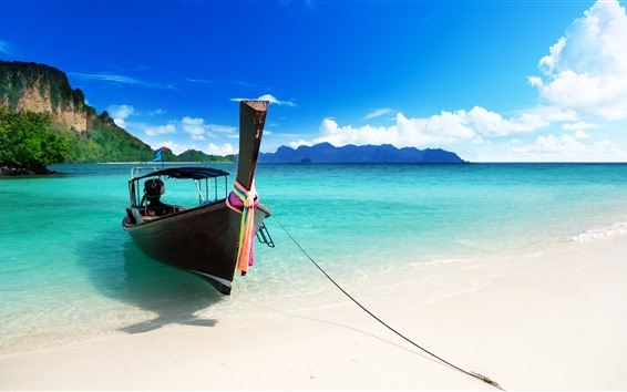 Wallpaper Boat, blue sea, beach, tropical