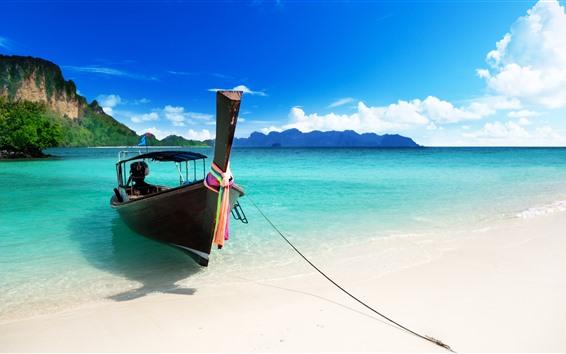 Fondos de pantalla Barco, mar azul, playa, tropical