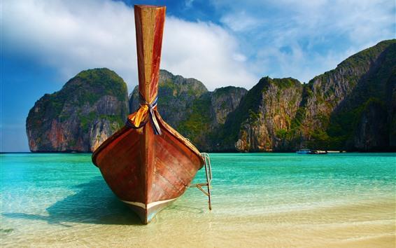 Fondos de pantalla Vista frontal del barco, playa, mar, montañas
