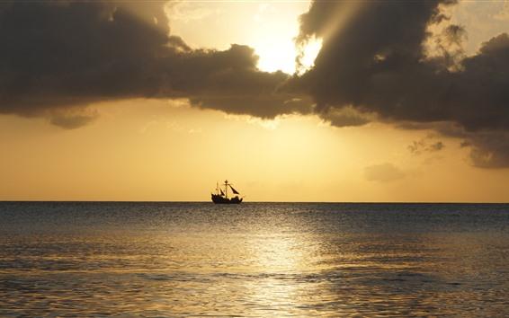 Fondos de pantalla Barco, mar, puesta de sol, cielo, nubes