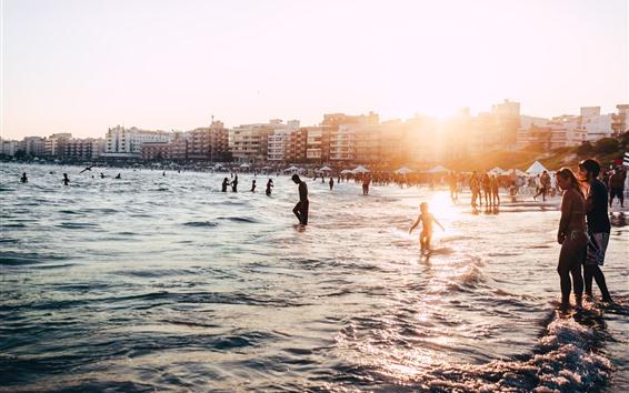 Wallpaper Brazil, beach, sea, waves, people, backlit
