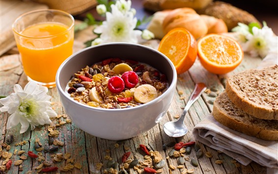 Papéis de Parede Café da manhã, muesli, pão, suco, laranjas
