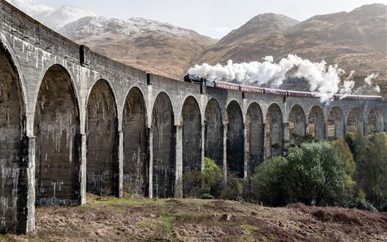 Fondos de pantalla Puente, arco, tren, vapor, humo.