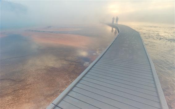 Fondos de pantalla Puente, niebla, lago, Parque Nacional de Yellowstone, Estados Unidos