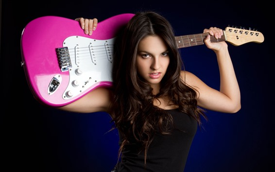 Fondos de pantalla Chica de pelo castaño, guitarra, tema musical