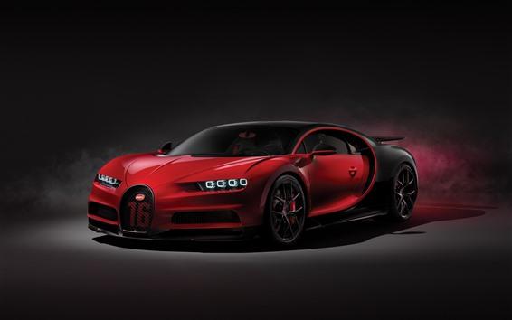 Обои Bugatti Chiron 2018 красный суперкар вид спереди