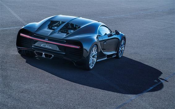 Papéis de Parede Vista traseira do supercarro preto Bugatti Chiron