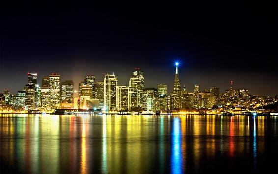 Fondos de pantalla California, noche de la ciudad, rascacielos, río, iluminación, reflexión del agua