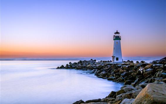 Fondos de pantalla California, faro, rocas, mar, amanecer, USA