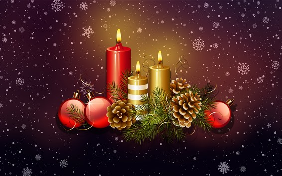 Wallpaper Candles, flame, Christmas balls, decoration, snowflakes, art picture