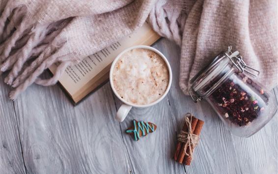 배경 화면 카푸치노, 커피, 폼, 시 나 몬, 책