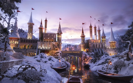 Fondos de pantalla Castillo, río, nieve, barco, invierno, atardecer.
