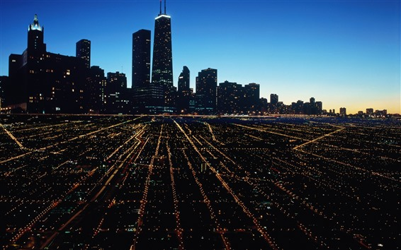 Wallpaper Chicago, city night, skyscrapers, lights, USA