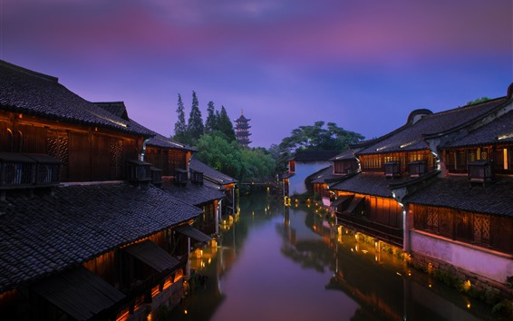 Fondos de pantalla China, casas viejas, río, torre, luces, noche