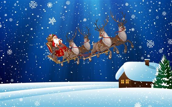 Wallpaper Christmas, Santa Claus, snowflakes, snow, deer, house, art picture