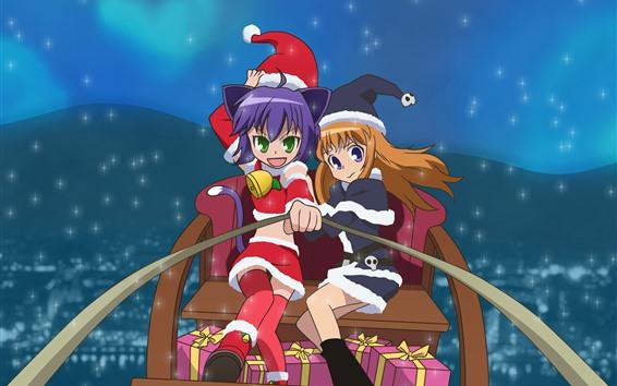 Wallpaper Christmas anime girls, sleigh