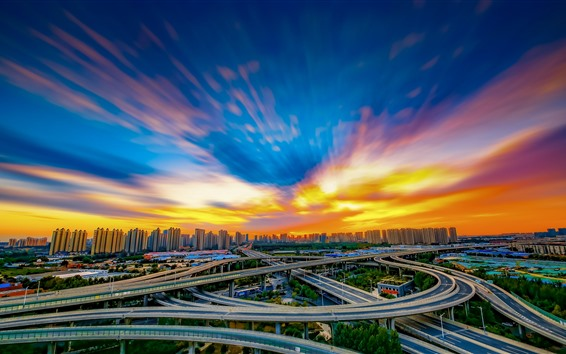 Wallpaper City, China, highways, viaduct, buildings, clouds, sunset