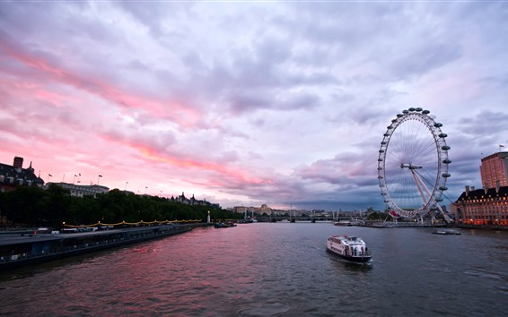 Wallpaper City, England, London, river, ferris wheel, ship, bridge, dusk