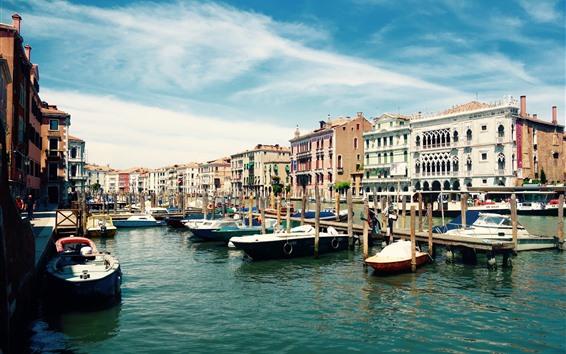 Fondos de pantalla Ciudad, Venecia, Italia, barcos, río, casas