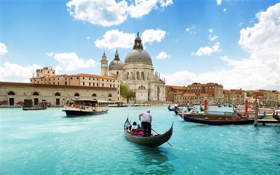 Papéis de Parede Cidade, Veneza, Italy, edifícios, barcos, Rio, céu, nuvens