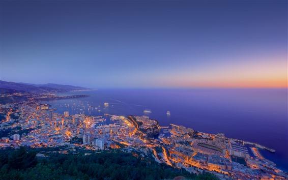 Fondos de pantalla Ciudad por la noche, mar, edificios, luces, vista superior