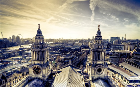 Wallpaper City, buildings, river, bridge, sunshine