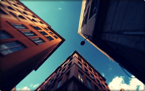 Papéis de Parede Cidade, edifícios, céu, vista de baixo