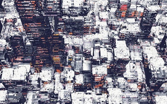 Wallpaper City, buildings, snow, creative art picture