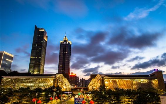 Fondos de pantalla Noche de la ciudad, Shenzhen, China, calle, luces, edificios