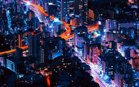 Wallpaper City night, skyscrapers, buildings, lights, roads