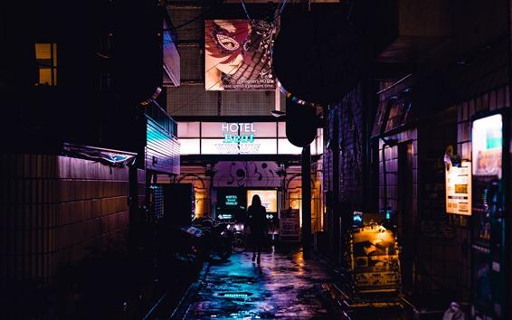Wallpaper City night, street, hotel, Japan