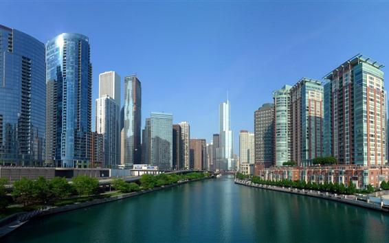 Fondos de pantalla Ciudad, río, rascacielos, puente, Estados Unidos.