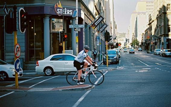 Fondos de pantalla Ciudad, calle, carretera, coches, bicicleta.